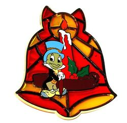 Le 125 Disney Pin✿jiminy Cricket Pinocchio Stained Glass Christmas Holiday Bell
