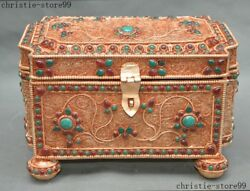 Old Royal Silver Filigree Turquoise 24k Gold Jewelry Storage Scripture Box Boxs