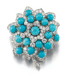 2.20ct Natural Round Diamond 14k Solid White Gold Turquoise Wedding Brooch Pin