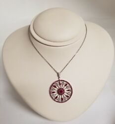 14k Solid White Gold Genuine Ruby And All Natural Not Enhanced Diamond Pendant