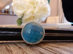 1785 New Meira T Blue Turquoise And White Topaz Doublet Diamond Ring Size 6.5