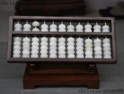 Unique China Exquisite 100 White Jade Stone Hand Carved Calculation Tool Abacus