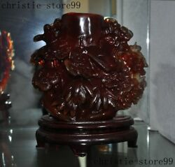 China Natural Agate Hand Carved Fengshui Magpie Pine Trees Brush Pot Pencil Vase