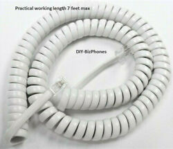 White Medium 12ft Handset Cord Cortelco Phone 250015 255415 Colleague Curly Coil