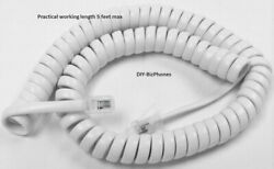 White Short (9ft) Handset Cord Cortelco Phone 250015 255415 Colleague Curly Coil