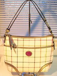 NWT Coach F21363 White Peyton Tattersall Convertible Hobo Crossbody  MSRP $298