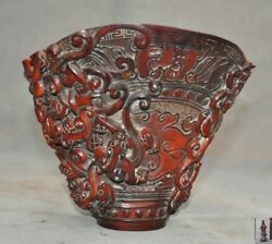 Chinese Ox Horn Horns Carved Pixiu Dragon Beast Goblet Wineglass Cup Wine Vessel
