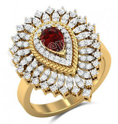 Christmas 1.50ct Natural Round Diamond Ruby 14k Yellow Gold Cocktail Ring Size 7