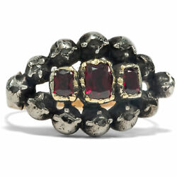 Georgian Um 1780 Antique Ring With Grenades And Diamonds In Gold And Silver, Garnet
