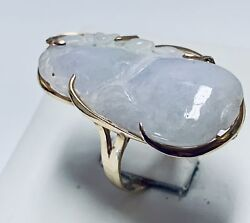 14 Kt Ladies Yellow Gold Carved Purple Jade 35 X17 Mm Size 8 1/4