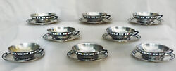 Mid-century Modern Silver 916anddeg And Enamel Set Of 8 Coffee Cups And Saucers 1960s
