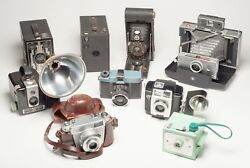 Lot Of 9 Vintage Collection Photography Cameras - Variety Of Brands And Eras