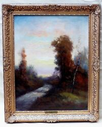 OLD ANTIQUE OIL PAINTING SIGNED F. WATERS FOREST BROOK LANDSCAPE STREAM TREES