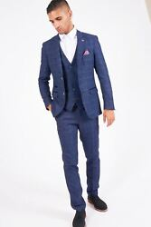 Mens Marc Darcy Designer Blue Check Print Wool Style 3 Piece Suit Size 34-52