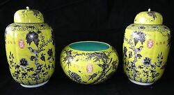 3PC Chinese Grisaille Decorated Yellow Ground Dayazhai Jars & Bowl w. Bird (Geo)