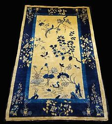 1920s Chinese Blue And Gold Wool Pile Rug W. Auspicious Motifs 92x 60 Sig