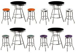 Nfl Black 3pc Bar Table Set With Team Logo Decals On Colored Vinyl Swivel Seats