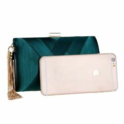 1x Women Metal Tassel Clutch Bag With Chain Shoulder For Day And Evening Fashion