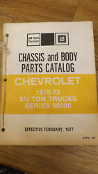 1970-1971-1972 Series 9000 Chevrolet Truck Chassis Andbodyparts Catalog 90 Nos