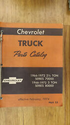 1966-1972 Series 70000 80000 Chevrolet Truck Parts Catalog Manual Chevy W/body