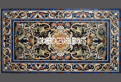 Black Marble Dining Table Top Scagliola Stones Inlaid Best Hallway Decor H3292