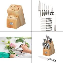 New Chicago Cutlery Elston Stainless Steel 16 Piece Set With Wood Knife Block