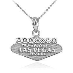 10k White Gold Las Vegas Welcome Sign Reversible Charm Necklace