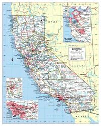 Cool Owl Maps California State Wall Map Poster Rolled Laminated 24quot;x30quot;