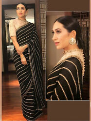 Black Bollywood Replica Saree Designer Party Indian Wedding Georgette Women Sari