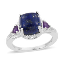 925 Sterling Silver Lapis Lazuli Amethyst Stylish Ring Gift Jewelry for Women