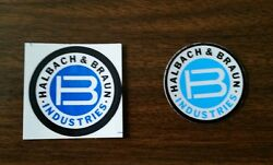 Halbach And Braun Industries Mid-80's Lot Of 2 Hard Hat Coal Mining Stickers