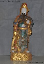 Chinese Old White Jade Painted Gilt Dragon Guan Gong Guan Yu Warrior God Statue