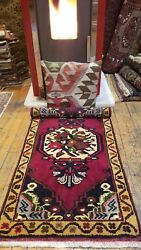 Vintage 1950-1960s Beautiful 1'9×3'4 Wool Pile Natural Dyes Cushion Cover Rug