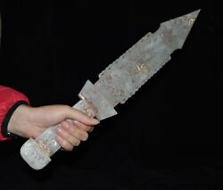 China Hetian Jade Carved Classical Character Beast Face Saber Sword Knife Dagger