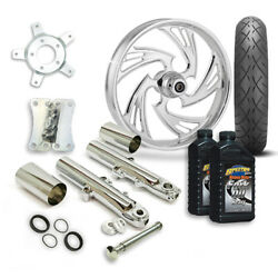 Rc 21 Crisis Wheel Tire And Complete Chrome Front End Package Harley 14-19 Flh