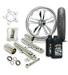 Rc 21 Crank Wheel Tire And Complete Chrome Front End Package Harley 14-19 Flh