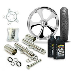 Rc 21 Nitro Wheel Tire And Complete Chrome Front End Package Harley 14-19 Flh