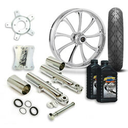 Rc 21 Revolt Wheel Tire And Complete Chrome Front End Package Harley 14-19 Flh
