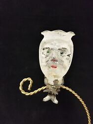 Rare Vintage German 1920and039s Santa Head Candle Holder On Clip Glass Ornament 3.5