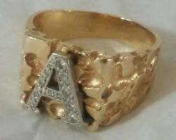 14k White And Yellow Gold Genuine Diamond Initial A Nugget 9-gram Ring Size 8.75