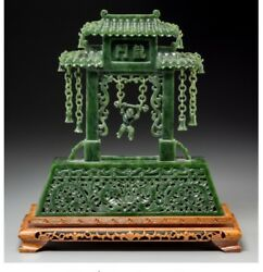Jade059 Chinese Carved Spinach Jade Gate with Swinging Child. 19th20th Century