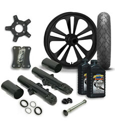 Rc 21 Crank Wheel Tire And Complete Black Front End Package Harley 14-19 Flh
