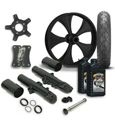 Rc 21 Helo Wheel Tire And Complete Black Front End Package Harley 14-19 Flh