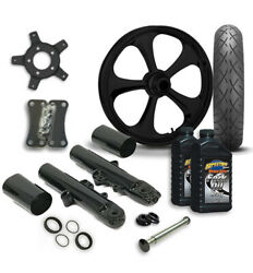 Rc 21 Nitro Wheel Tire And Complete Black Front End Package Harley 14-19 Flh