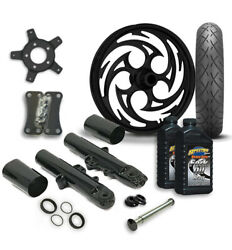 Rc 21 Savage Wheel Tire And Complete Black Front End Package Harley 14-19 Flh