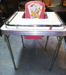 Vntg Mid Century Collapsible Childs High Chair -Disney's