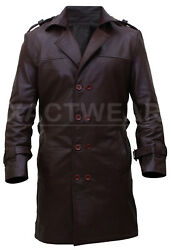 Buy Watchmen Rorschach Menand039s Stylish Trench Brown Leather Coat - Big Sale