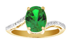 Lab-created Emerald And Diamond Accent 14k Yellow Gold Over Sterling Silver Ring
