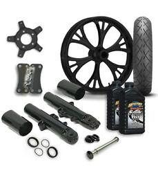 Rc 21 Majestic Wheel Tire And Complete Black Front End Package Harley 14-19 Flh