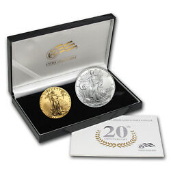 2006-w 2-coin Burnished Gold And Silver Eagle Set W/box And Coa - Sku 22407